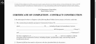 How To Write Certificate Of Completion Construction