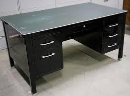 vintage office desk. Vintage Steel, Black Tanker Desk, Velvoleum Top. All Original. Made By In Office Desk