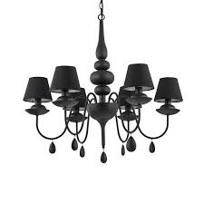satin black 6 light metal chandelier with black shades and velvet chain cover