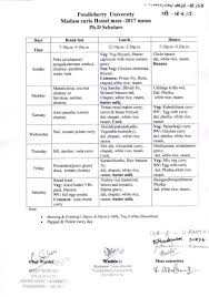 Mess Menu Chart Expression Of Interest For Providing Catering Services To