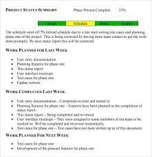 Sample Weekly Status Report Template Sample Status Report 7 Example Format