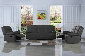 traditional clic reclining sofa set real grain leather double recliner loveseat single chair grey walmart