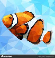 Vector Silhouette Clown Fish Polygon Chart Stock Vector