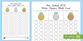 Olympic Gold Medal Chart New Zealand Winter Olympics Medal Count Worksheet 2018
