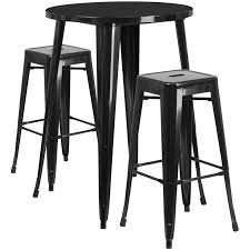 30 round black metal indoor outdoor bar table set with 2 square seat backless