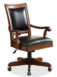desk chair wood. Caster Equipped Wooden Desk Chair With Leather Covered Seat Within Proportions 1056 X 1412 Wood