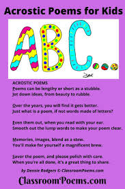 funny acrostic poems and acrostic poetry