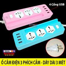 Giá bán CYX-K204 Ổ Điện Đa Năng 3 Phích 4 Cổng USB - Ổ Điện Chống Giật  CYX-K204, Phích Cắm Điện Dây Dài 3 Mét