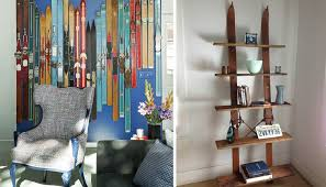 living room by reusing your old skis