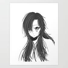 Grayscale Anime Girl Art Print By Hbcreative7