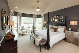 Traditional Master Bedroom with High ceiling, Greybeau Serpentine  Hand-painted Pewter Metallic Chest,
