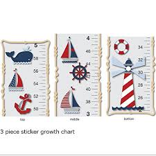 Nautical Growth Chart Growth Chart Nautical Ocean Boat Whale Anchor Wall Decals