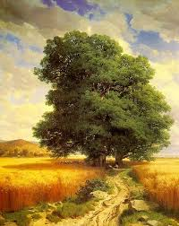 landscape with oak trees calame alexandre painting reions