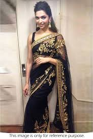 New Bollywood Designer Sarees Bollywood Style Deepika Padukone Net Designer Saree In Black