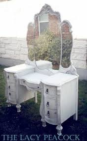vanity dressing table with drawers. white antique vanity / dressing table with triple mirror drawers s