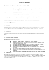 Patent Assignment Agreement Template Templates At