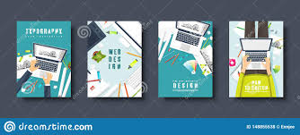 Graphic Design Free Online Tools Graphic And Web Design Flat Style Covers Set Designer