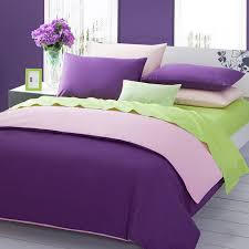 green and purple color bedding