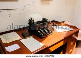 old office desk. Old Office Desk And Typewriter On Board A Ship From WW!. - Stock Photo