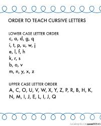 Capital And Lowercase Cursive Letters Chart Cursive Writing Alphabet And Easy Order To Teach Cursive