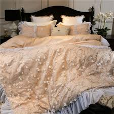 luxury embroidery bed linen pink gold egyptian cotton bedding set bedspread queen king size lace duvet cover sheet set 4 bedding sets cotton comforter