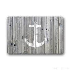 anchor bath mat by goodbath nautical bathroom rugs absorbent non slip bath rug kitchen floor mat carpet 16 x 24 inch grey white bbvjazkr9