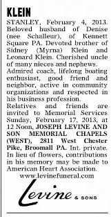 Obituary for STANLEY KLEIN - Newspapers.com