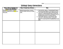 essay corrections for any type of writing by kasey kiehl tpt essay corrections for any type of writing