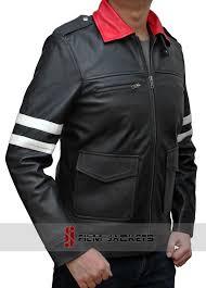 black biker leather jacket white stripe leather jacket