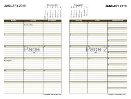 2019 Two Page Monthly Calendar A3 Free Printable Templates