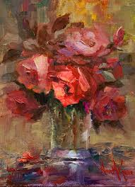 glass of red roses by artist nora kasten fine art paintingsartist paintingflower paintingsoil