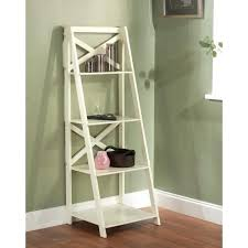 white corner ladder shelf wonderful high gloss antique white x back 4 tier ladder shelf storage