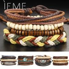 handmade multilayer leather charm bracelet