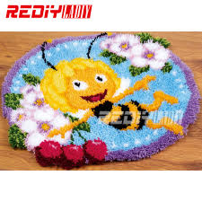 Latch Hook Designs Free Us 15 88 49 Off Hot 3d Latch Hook Rug Kits Diy Needlework Unfinished Crocheting Rug Yarn Cushion Mat Bee Flowers Embroidery Carpet Free Shipping In