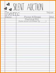 Silent Auction Sheets Printable All About Template Design