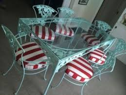 white iron patio furniture. Delighful Patio Vintage WOODARD Turquoise Red White Iron Patio Furniture SetTable 6 Charis  Woodard Inside