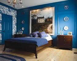 royal blue white bedroom brown