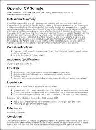 Resume For Job Application Example Operator Sample Resume Sample For