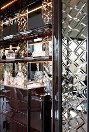 OH MY Amazing Modern, Glam style! detailed mirrored wall in bar stunning!