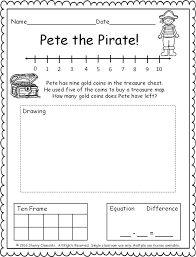 pages subtraction word problem number line ten frame drawing and equation kindergarten and first grade math
