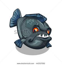 sharp fangs. piranha bares its sharp fangs. cartoon fish isolated on a white background. vector illustration fangs h