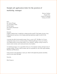 Sample Job Application Letter For The Position Marketing Manager Of