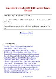 Chevrolet Colorado 2004-2010 Service Repair Manual.pdf by Guang ...