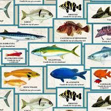 Catalina Island Chart Of Fish With Names Fishing Cream Cotton Fabric