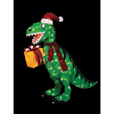 Dinosaur Lawn Decorations Home Accents Holiday 42 In Animated Tinsel Dinosaur With Present