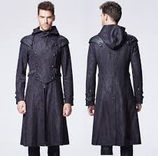men black double ted hooded meval gothic military trench coat
