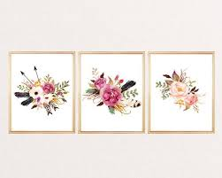 print watercolor flowers arrows feathers arrows floral wall art print watercolor floral poster nursery decor home office decor set of 3 on watercolor floral wall art with print watercolor flowers arrows feathers arrows floral wall art