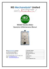 User Manual Ird Mechanalysis Limited Manualzz Com