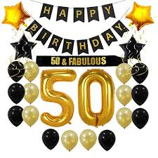 Choosing between elegant 50th birthday party themes is a challenge. 50th Birthday Decorations Party Supplies Gift For Men Women 50 Birthday Sash Happy Birthday Banner 50 Gold Number Balloons Sparkling Hanging Swirls Black And Gold Balloons Buy Online In Solomon Islands At