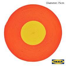 ikea braided round rug large orange yellow